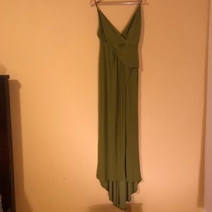 1970s style olive green dress